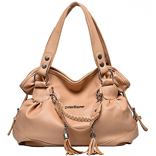 Satchel Handbags Khaki handle for Crossbody Tote Bags Top Shoulder FiveloveTwo Tassel Retro Women Ladies Purse Iq6tnwWW7C