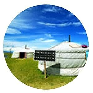 alfombrilla de ratón campamentos de ger mongoles con energía solar - ronda - 20cm