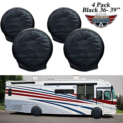- Leisure Coachworks Tire Covers for RV Wheel, Set of 4: Motorhome, Wheel Covers Waterproof Soft Vinyl Tire Protectors Tire Covers Fits 36