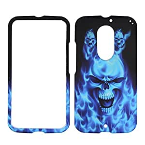 For Motorola Moto X 2nd Gen X+1 X2 (2014) Blue Skull Verizon , AT&T, U.S Cellular Hard Phone Case Snap-on Cover Protector Rubberized Frosted Matte Surface Hard Shells