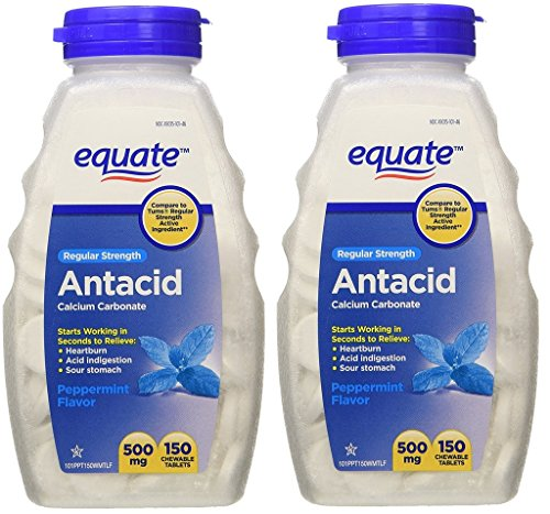 Equate - Antacid Tablets, Regular Strength 500 mg, 150 Chewable Tablets, Peppermint Flavor (Pack of 2)