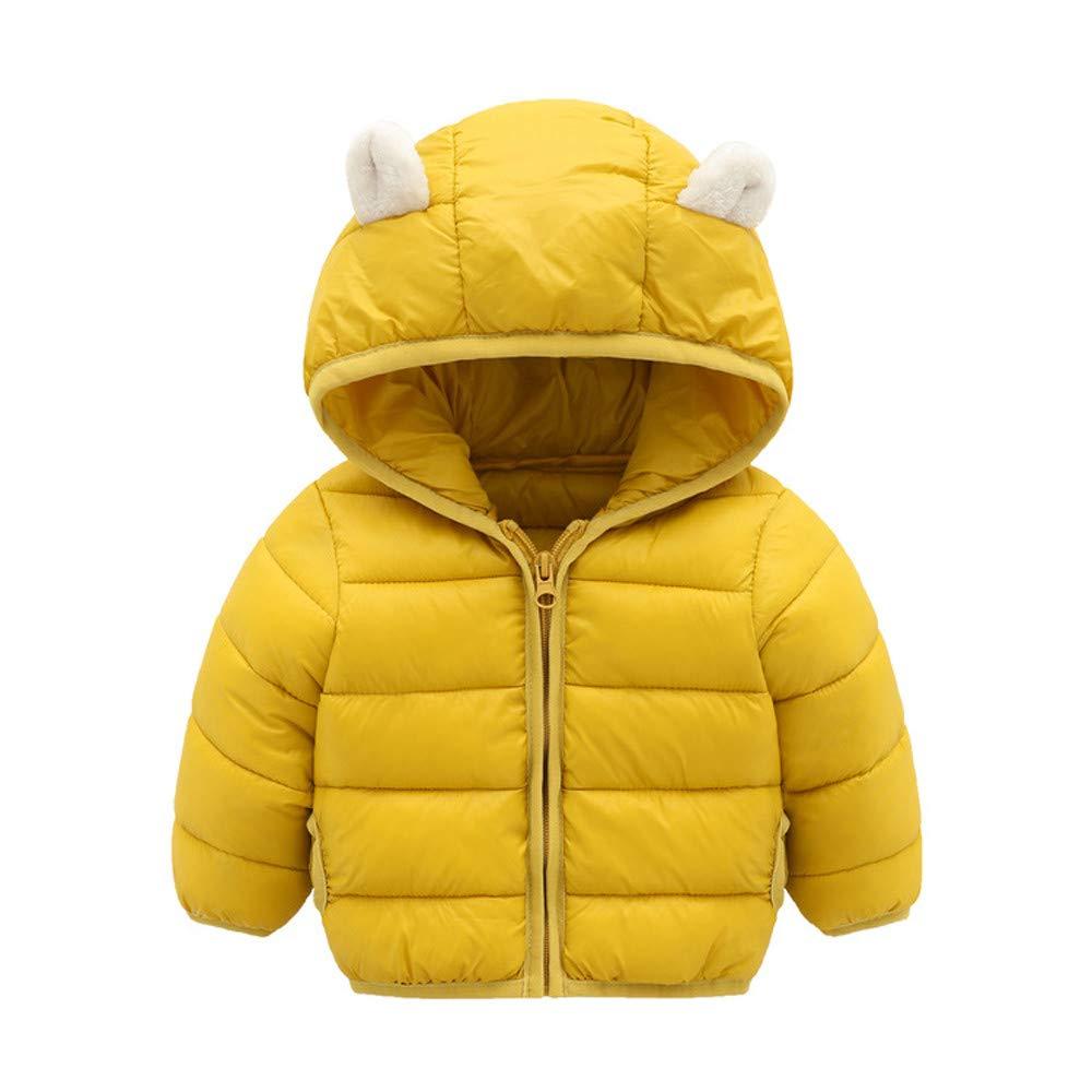 KONFA Litttle Kids Winter Warm Outerwear Clothes,Toddler Baby Boys Girls Jacket Cartoon Bear Hooded Coat 0-4 Years