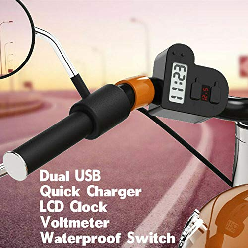 MOTOBA Waterproof Motorcycle Charger 3 in 1 Power Socket, Wireless Dual USB Port Handlebar Mount with LED Voltmeter LCD Digital Clock