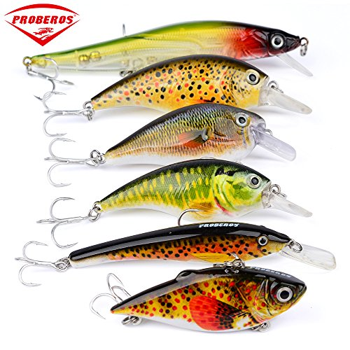 Proberos Crankbaits Set Lure Fishing Hard Baits Swimbaits Boat Ocean Topwater Lures Kit Fishing Tackle Hard Baits Set For Trout Bass Perch Fishing Lures Set (ST50) For Sale