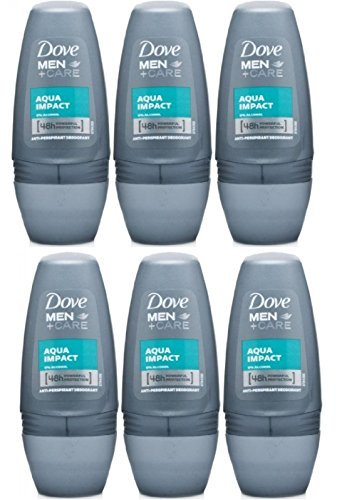 Dove Men+Care Antiperspirant Deodorant Roll-On, Aqua Impact, 1.7 Oz-50 Ml Travel Size (Pack of 6)