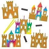 Sandcastle Scratch Art Magnets Kit for Children to Design Make and Display - Creative Summer Craft Set for Kids (Pack of 10)