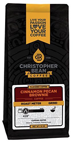 Christopher Bean Coffee Flavored Decaffeinated Ground Coffee, Cinnamon Pecan Brownie, 12 (Cinnamon Toasted Pecans)