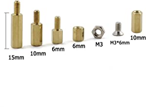 ZYAMY 150pcs M3 Hex Brass Spacer Standoff Circuit Spacer PCB Board Nut Screws Assortment Kit Mounting Hardware Set 6+6 10+6 15+6 M3 Nut M3x6 Screw
