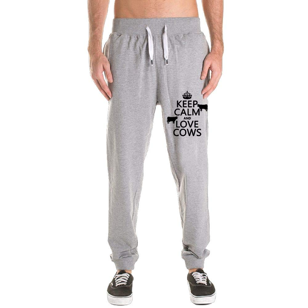 Printed Keep Calm and Love Cows Adult Men's Sweatpants by PUREYS-I (Image #1)