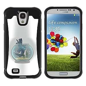 LASTONE PHONE CASE / Suave Silicona Caso Carcasa de Caucho Funda para Samsung Galaxy S4 I9500 / Cat Fish Tank Bowl Grey Feline Art Drawing