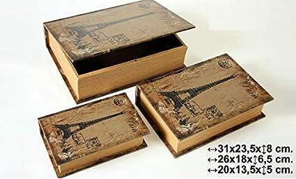 DonRegaloWeb - Caja de madera set de 3 imitacion libro en colores marron y negro,