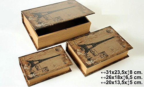 DonRegaloWeb - Caja de madera set de 3 imitacion libro en colores marron y negro, decorados con imagen de la torre eifel.: Amazon.es: Hogar