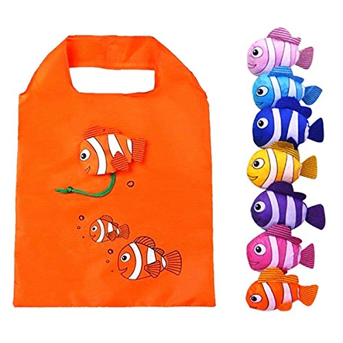 Bag Fish Tote - Lynnwang Design Reusable Fish Shopping Tote Bag for Kids, Pack of 6