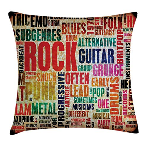 Ambesonne Music Throw Pillow Cushion Cover, Retro Rock and Roll Symbol Lettering Grunge Distressed Colors Back Then Sound Music Theme, Decorative Square Accent Pillow Case, 18 X 18 Inches, -