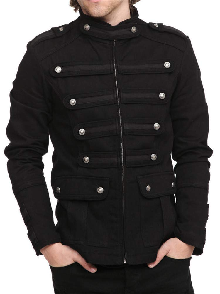 Karlywindow Mens Gothic Military Jackets Casual Band Steampunk Vintage Stylish Jacket with pockets 3
