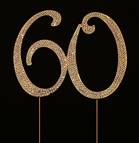 Numbrer 60 for 60th Birthday or Anniversary Cake - 60th Birthday Cake Topper Gold