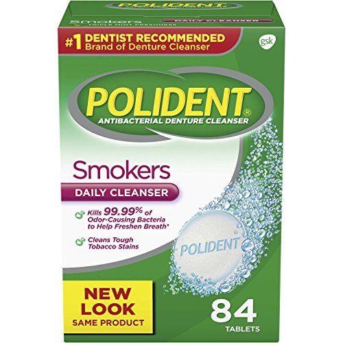 (Polident Smokers Antibacterial Denture Cleanser Effervescent Tablets, 84 count)