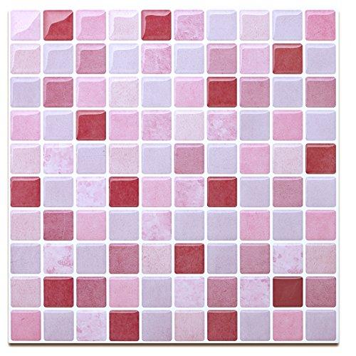 Red&Pink Decorative Tile Stickers-Multi-Colored Peel and Stick Wall Tile for Kitchen Backsplash-Stick on Backsplash Tiles(4 Sheets)