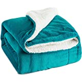 Sherpa Throw Luxury Blanket Peacock Blue 50x60 Reversible Fuzzy Microfiber All Season Blanket for Bed or Couch by Bedsure