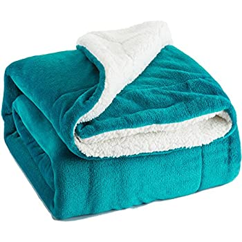 Bedsure Sherpa Throw Blanket Teal Throw size 50x60 Bedding Fleece Reversible Blanket for Bed and Couch