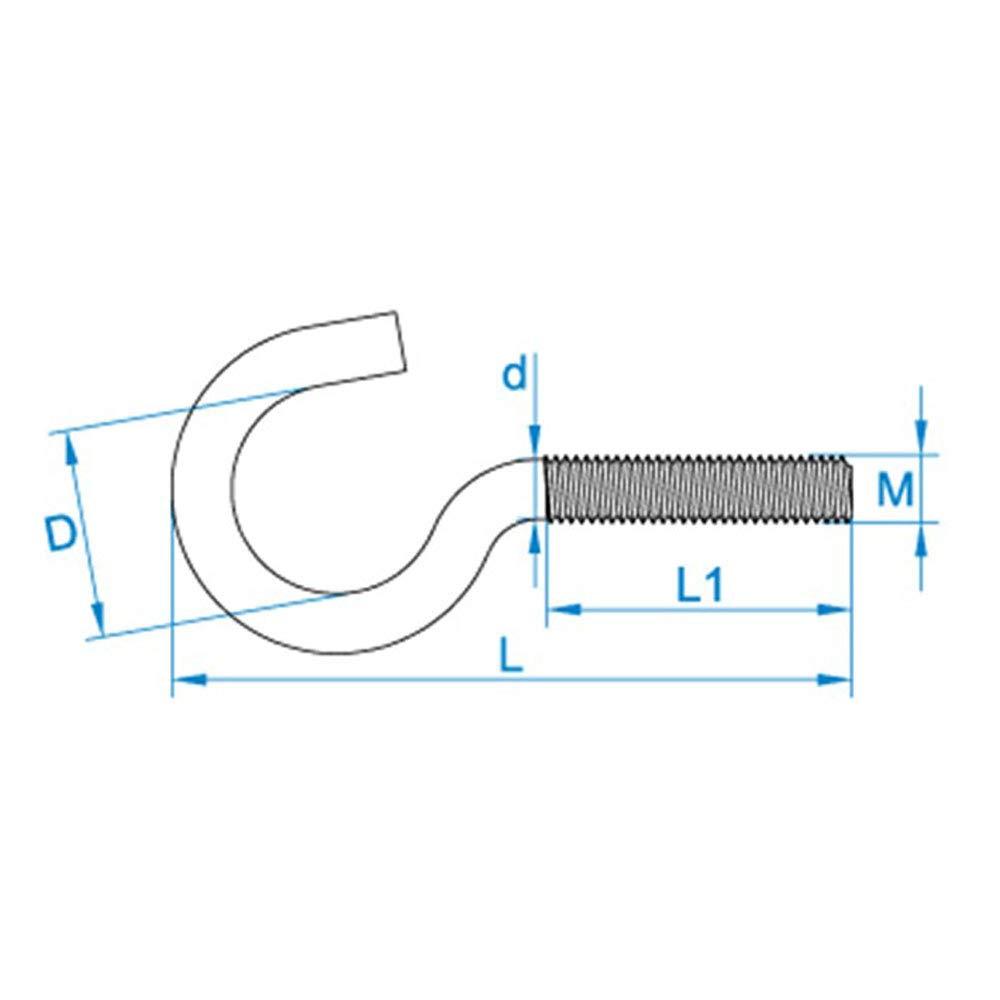 100 X Gebogene Schraubhaken M4x50 Eisen glanzverzinkt