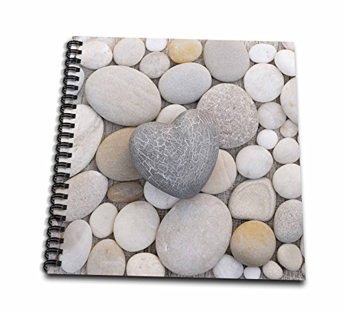 3dRose Andrea Haase Still Life Photography - Stone Heart On Pebble Background - Memory Book 12 x 12 inch (db_268538_2)