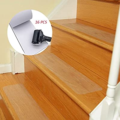 "BOMEI PACK 16-Pack (4""X24"") PEVA Pre Cut Non-slip Stair Treads Anti Slip Clear Tape and Tape Roller Children/Elders/Pets Safety,Available Indoors&Outdoors/Stairs/Bathroom/Road"