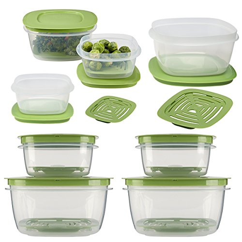 Rubbermaid16pc Set Of Produce Saver Plastic Food Storage Containers With Lids & Fresh Vent for Breathability