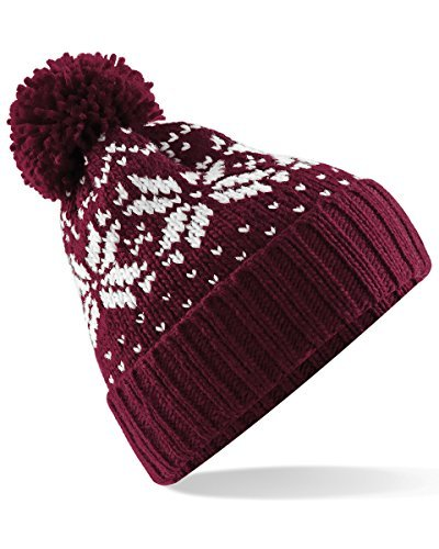 Beechfield Unisex Fair Isle Snowstar Winter Beanie Hat (One Size) (Burgundy / White)