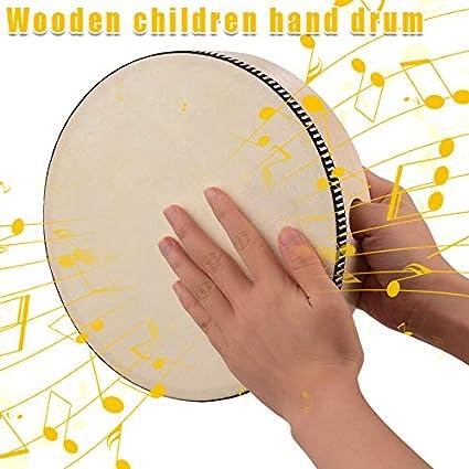 Unityoung Holz-Handtrommel Kinder Percussion Spielzeug Holzrahmen Trommel f/ür Kinder Musikspiel