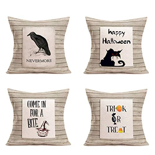 Funny Halloween Pumpkin Designs (Hopyeer Rustic Wood Classic Stripe Halloween Theme Throw Pillow Covers Funny Quote with Crows Black Cats Pumpkins Candy Design Cotton Linen Square Pillowcase Decor Home Liveroom 18