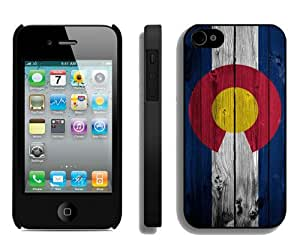 Dark Colorado Flag on wood Black Custom Phone Shell iPhone 4S Case Cool Design