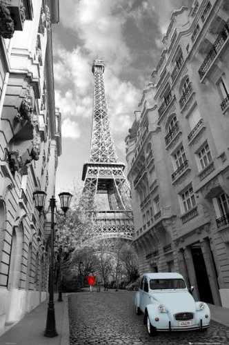 Large laminated black and white paris poster 61 x 91 5 cm