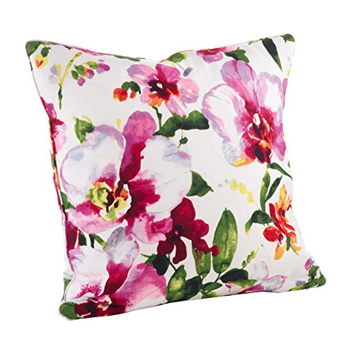 SARO LIFESTYLE 1619.M20S Watercolor Floral Print Down Filled Throw Pillow, Multi, 20