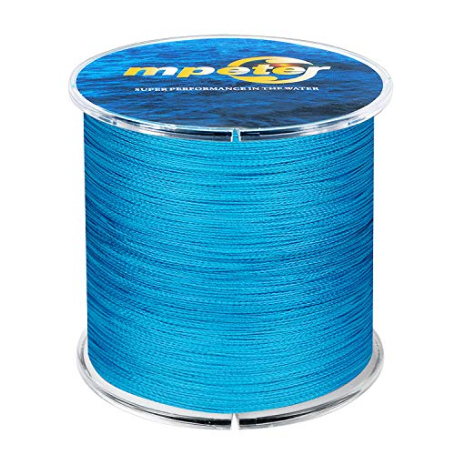 mpeter Armor Braided Fishing Line, Abrasion Resistant Braided Lines, High Sensitivity and Zero Stretch, 4 Strands to 8 Strands with Smaller Diameter,blue,547-Yard/40LB