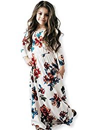 Girls Floral Flared Casual Short Sleeves Summer Long Maxi Dress(6-12 Years)