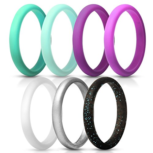 - ThunderFit Women's Thin and Stackable Silicone Rings Wedding Bands - 7 Pack (Light Blue, Dark Teal, Silver, White, Black with Teal Glitter, Dark Purple, Light Purple, 7.5-8 (18.2mm))