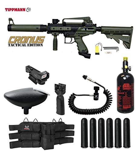 MAddog Tippmann Cronus Tactical HPA Red Dot Paintball Gun Package - Black/Olive