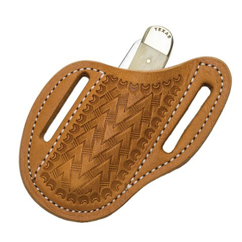 (Leather Knife Sheath, Slanted Pancake Sheath, Tooled Leather Sheath, Belt Sheath,Trapper Knife Sheath,TAN)