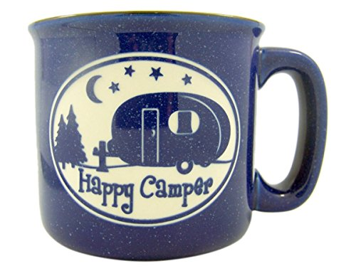 Happy Camp Blue Ceramic Engraved Coffee Mug, 16 oz