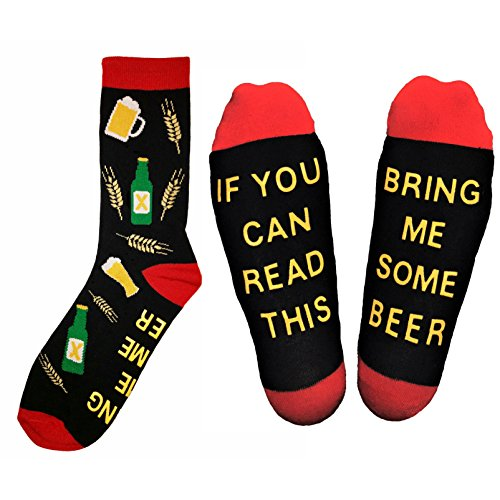 """""""Bring Me Some Beer"""" Novelty Socks - Funny Gift Idea for Beer Lovers, Birthday Presents, Hilarious Gag Gift for College Students and Graduation Presents"""