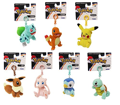 Pokemon Original Plush Toy Set of 7 Includes: Pikachu . Eevee , Charmander , Squirtle , Mew , Piplup & Bulbasaur (Pokemon Clip Backpack)