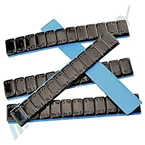 7 Wheel weights BLACK 12x5g Stick-on weights Steel weights Adhesive bars 60g with DEMOLITION EDGE zinc plated & plastic coated 0. 42KG Black 5gx12