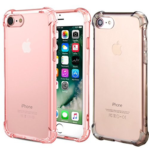 - CaseHQ iPhone 7 Case, iPhone 8 Case,Crystal Clear Shock Absorption Bumper Slim Fit,Heavy Duty Protection TPU Cover for Apple iPhone 7(4.7 inch)(2016)/iPhone 8(4.7 inch)(2017) -Rosegold+ClearBlack