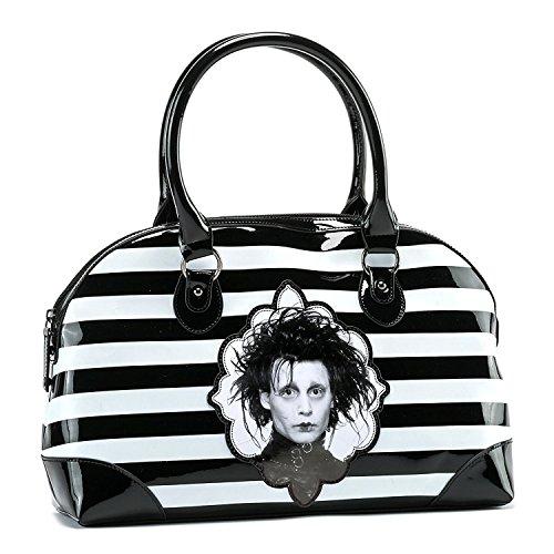 Edward Scissor Hands Striped Zip Vinyl Handbag Black