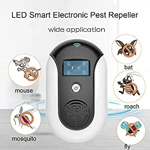 RICRIS Ultrasonic Pest Repeller[Multiple Sound Waves+Optical Repelling+Led Display] Smart Electronic Pest Control Insect Repellent Plug In for Mice,Bats,Mosquitoes,Flies,Bugs and Roaches(Black)