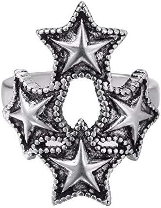 Offene Ringe Für Damen,Vintage Adjustable Open Four Silber Pentagram Stacking Weihnachtsgeschenk Schmuck Für Hochzeit Verlobungsfeier Frauen Männer Paar