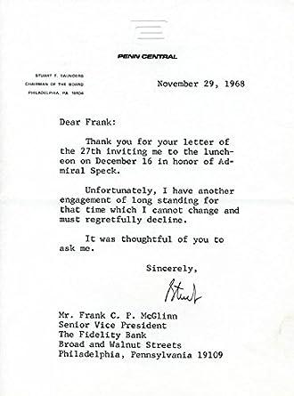 Amazon com: Stuart T  Saunders - Typed Letter Signed 11/29/1968