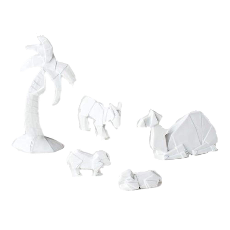 One Hundred 80 Degrees Porcelain Origami Nativity Animals, St/5, Porcelain, 6.25'' Ornament