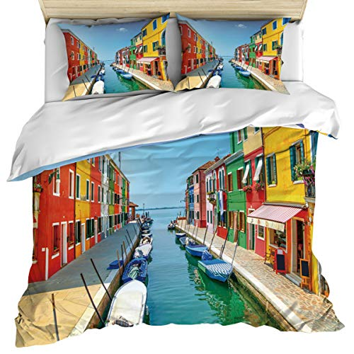 (3 Piece Duvet Cover Bedding Comforter Set Queen Size, Italy Venice Water City Burano Comforter Quilt Cover with Zipper Closure Luxury Hypoallergenic Microfiber Personalized Bedding for Men Women Bed )